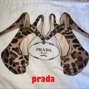 Prada Calf Hair Leopard Print Platform Heels